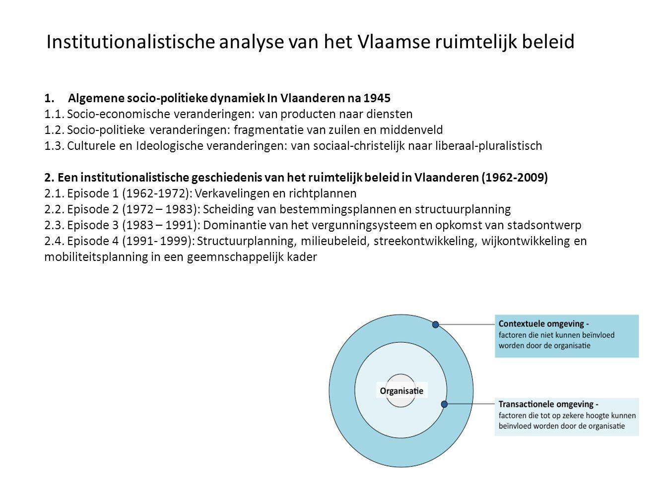 Institutionalistische analyse van het Vlaamse ruimtelijk beleid 1.Algemene socio-politieke dynamiek In Vlaanderen na 1945 1.1. Socio-economische veran
