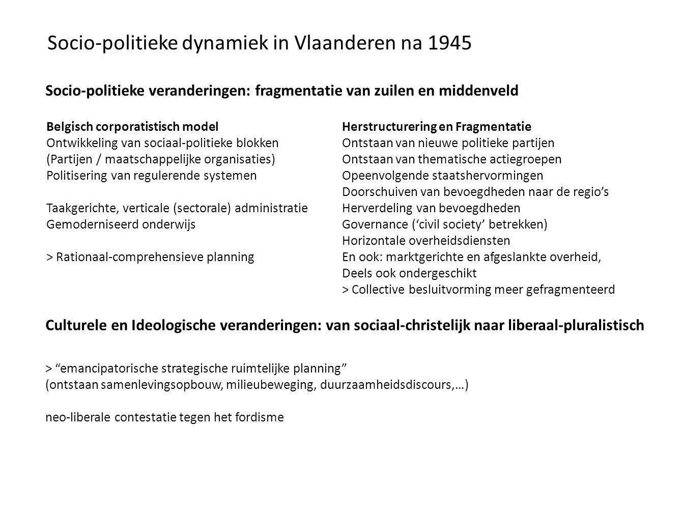 Socio-politieke dynamiek in Vlaanderen na 1945 Socio-politieke veranderingen: fragmentatie van zuilen en middenveld Culturele en Ideologische verander