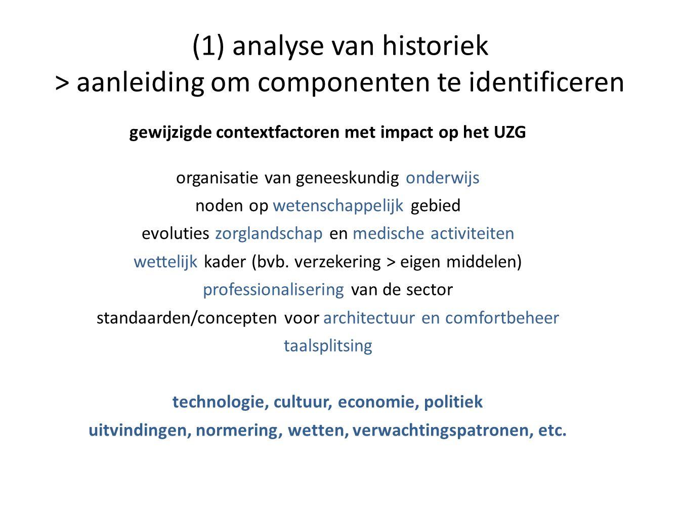 (1) analyse van historiek > aanleiding om componenten te identificeren gewijzigde contextfactoren met impact op het UZG organisatie van geneeskundig o