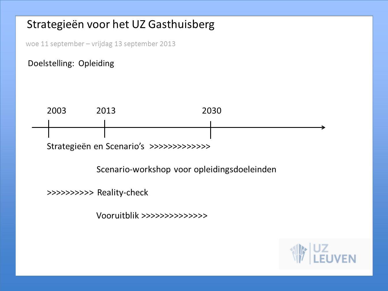Strategieën voor het UZ Gasthuisberg woe 11 september – vrijdag 13 september 2013 Doelstelling: Opleiding 2003 20132030 Strategieën en Scenario's >>>>
