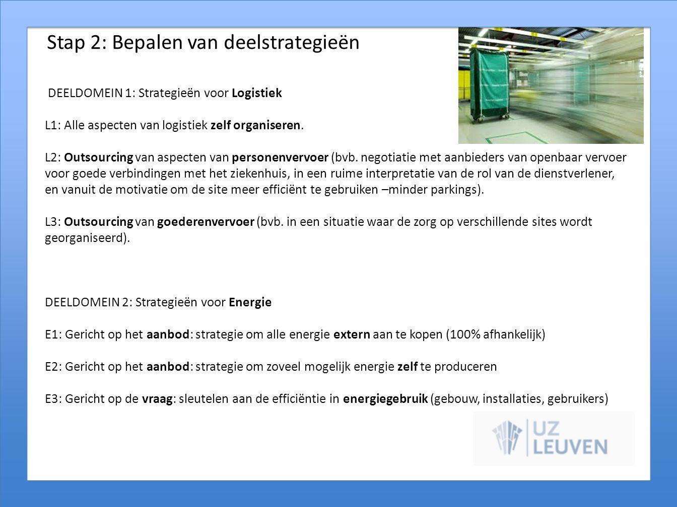 Stap 2: Bepalen van deelstrategieën DEELDOMEIN 1: Strategieën voor Logistiek L1: Alle aspecten van logistiek zelf organiseren. L2: Outsourcing van asp