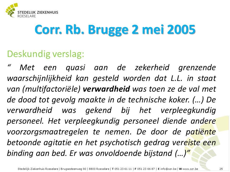 Stedelijk Ziekenhuis Roeselare | Brugsesteenweg 90 | 8800 Roeselare | T 051 23 61 11 | F 051 23 66 87 | E info@szr.be | W www.szr.be 25 Corr.