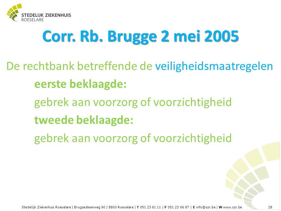 Stedelijk Ziekenhuis Roeselare | Brugsesteenweg 90 | 8800 Roeselare | T 051 23 61 11 | F 051 23 66 87 | E info@szr.be | W www.szr.be 28 Corr.