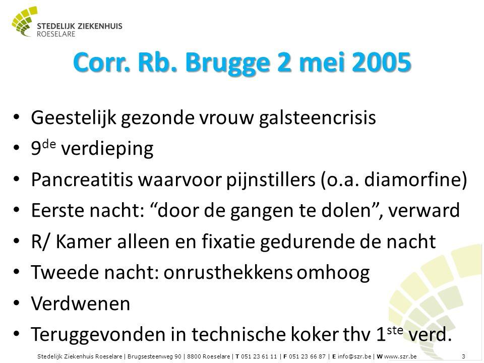 Stedelijk Ziekenhuis Roeselare | Brugsesteenweg 90 | 8800 Roeselare | T 051 23 61 11 | F 051 23 66 87 | E info@szr.be | W www.szr.be 3 Corr.