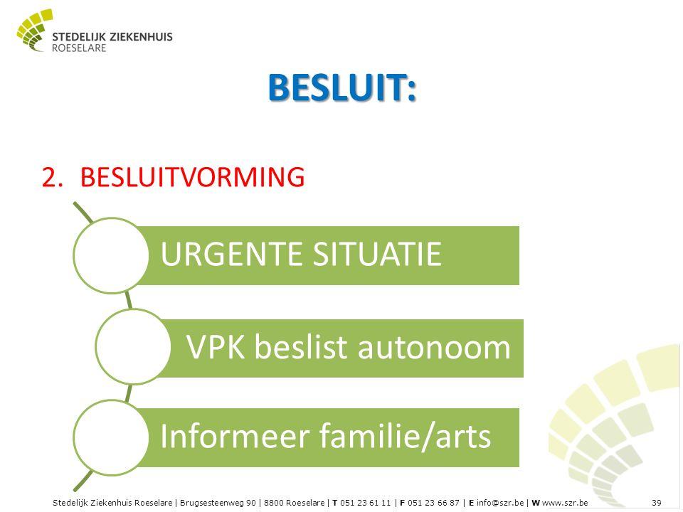 Stedelijk Ziekenhuis Roeselare | Brugsesteenweg 90 | 8800 Roeselare | T 051 23 61 11 | F 051 23 66 87 | E info@szr.be | W www.szr.be 39 BESLUIT: 2.BESLUITVORMING URGENTE SITUATIE VPK beslist autonoom Informeer familie/arts