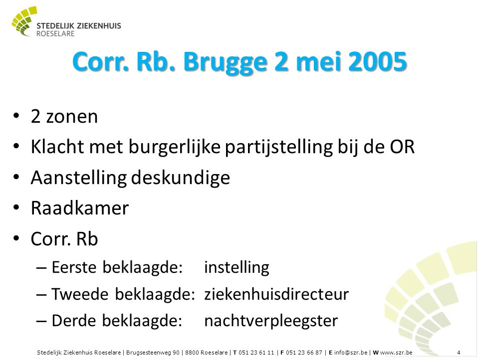 Stedelijk Ziekenhuis Roeselare | Brugsesteenweg 90 | 8800 Roeselare | T 051 23 61 11 | F 051 23 66 87 | E info@szr.be | W www.szr.be 4 Corr.