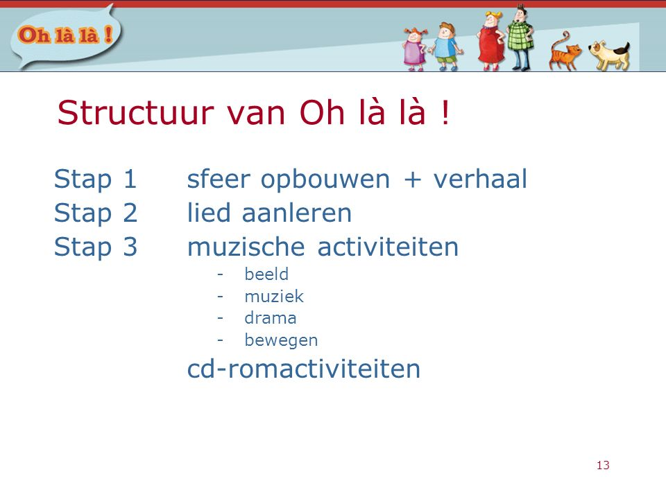 13 Structuur van Oh là là ! Stap 1sfeer opbouwen + verhaal Stap 2lied aanleren Stap 3muzische activiteiten -beeld -muziek -drama -bewegen cd-romactivi