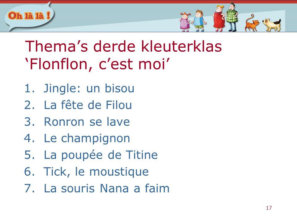 17 Thema's derde kleuterklas 'Flonflon, c'est moi' 1.Jingle: un bisou 2.La fête de Filou 3.Ronron se lave 4.Le champignon 5.La poupée de Titine 6.Tick