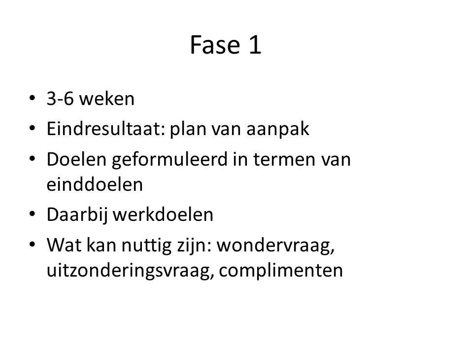 Fase 1 3-6 weken Eindresultaat: plan van aanpak Doelen geformuleerd in termen van einddoelen Daarbij werkdoelen Wat kan nuttig zijn: wondervraag, uitzonderingsvraag, complimenten