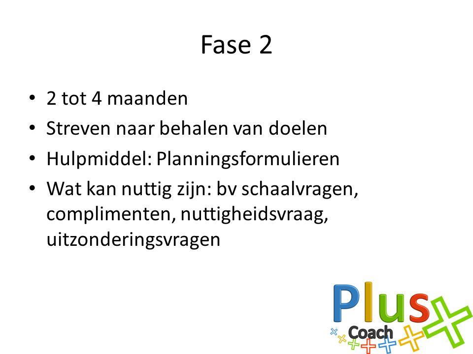 Fase 2 2 tot 4 maanden Streven naar behalen van doelen Hulpmiddel: Planningsformulieren Wat kan nuttig zijn: bv schaalvragen, complimenten, nuttigheidsvraag, uitzonderingsvragen