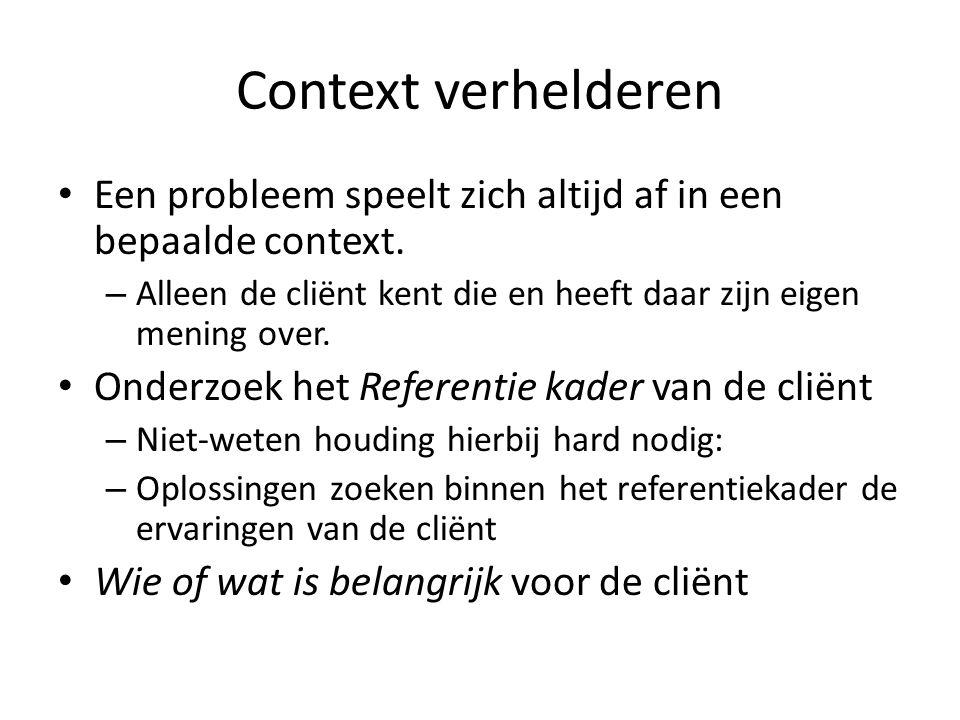 Context verhelderen Een probleem speelt zich altijd af in een bepaalde context.