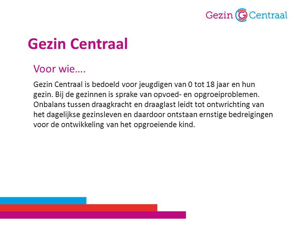 Gezin Centraal is bedoeld voor jeugdigen van 0 tot 18 jaar en hun gezin. Bij de gezinnen is sprake van opvoed- en opgroeiproblemen. Onbalans tussen dr