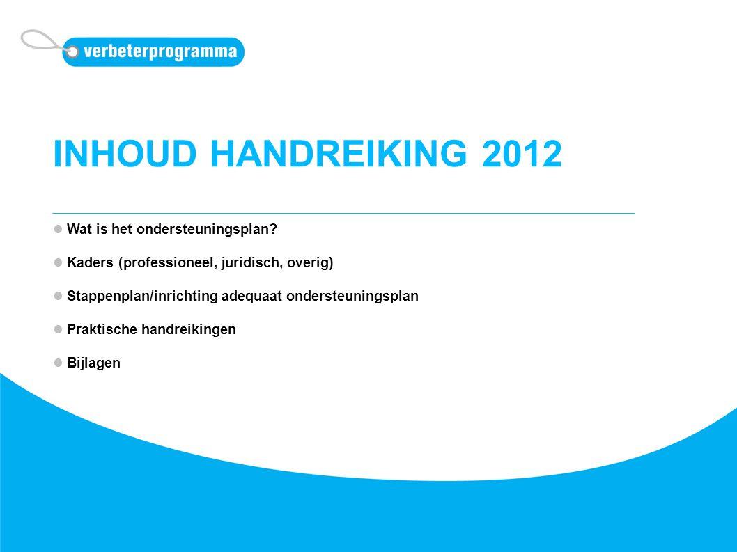 INHOUD HANDREIKING 2012 Wat is het ondersteuningsplan? Kaders (professioneel, juridisch, overig) Stappenplan/inrichting adequaat ondersteuningsplan Pr