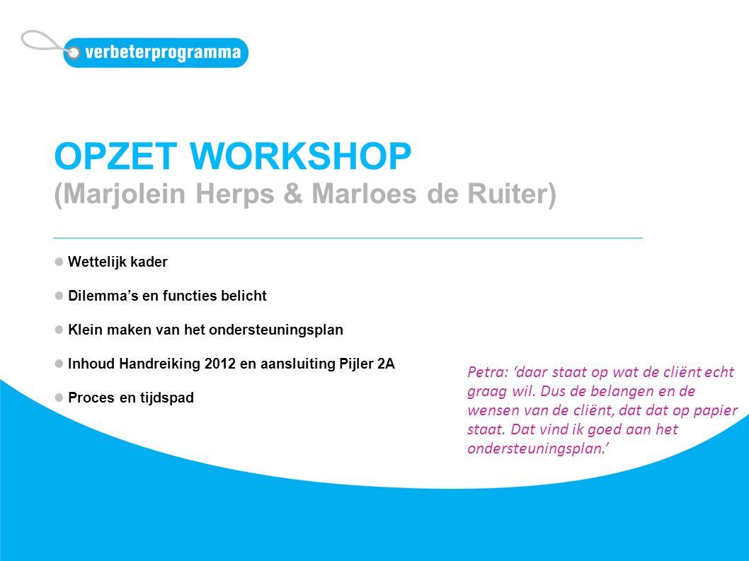 OPZET WORKSHOP (Marjolein Herps & Marloes de Ruiter) Wettelijk kader Dilemma's en functies belicht Klein maken van het ondersteuningsplan Inhoud Handr
