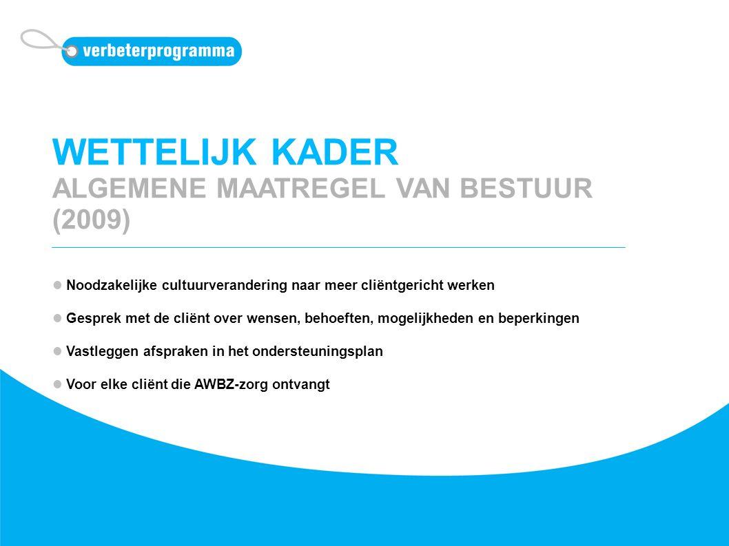 WETTELIJK KADER ALGEMENE MAATREGEL VAN BESTUUR (2009) Noodzakelijke cultuurverandering naar meer cliëntgericht werken Gesprek met de cliënt over wense
