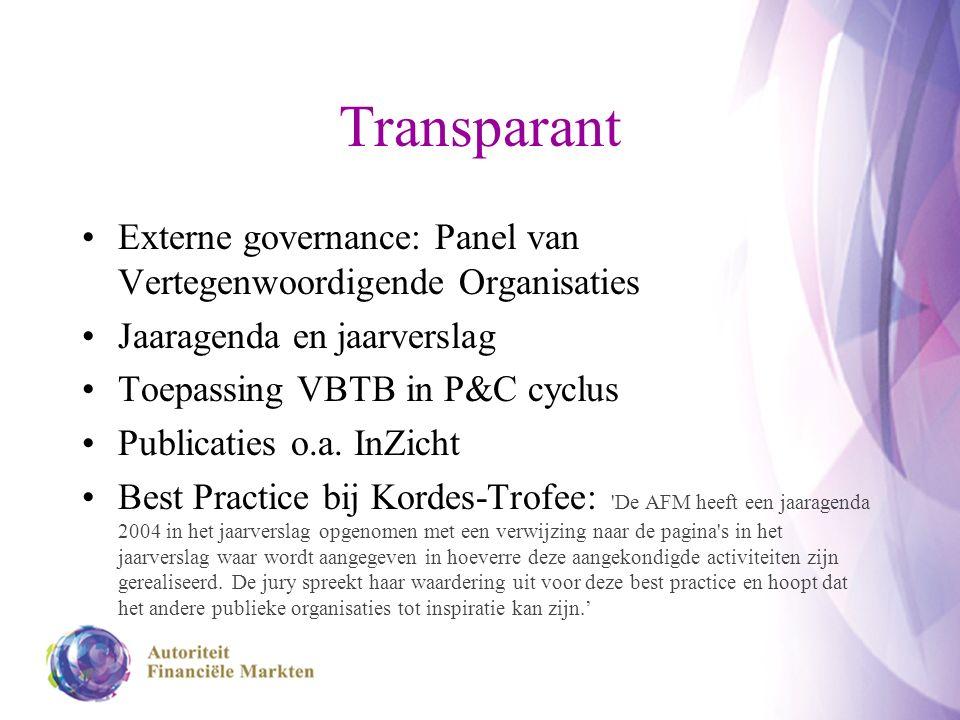 Transparant Externe governance: Panel van Vertegenwoordigende Organisaties Jaaragenda en jaarverslag Toepassing VBTB in P&C cyclus Publicaties o.a.