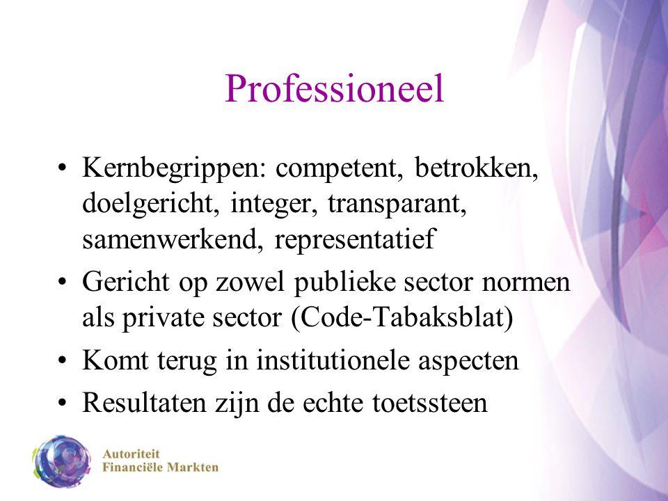 Professioneel Kernbegrippen: competent, betrokken, doelgericht, integer, transparant, samenwerkend, representatief Gericht op zowel publieke sector no