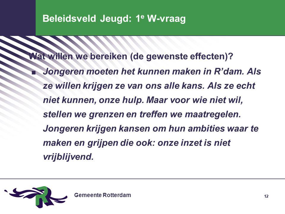 Gemeente Rotterdam 12 Beleidsveld Jeugd: 1 e W-vraag Wat willen we bereiken (de gewenste effecten) .