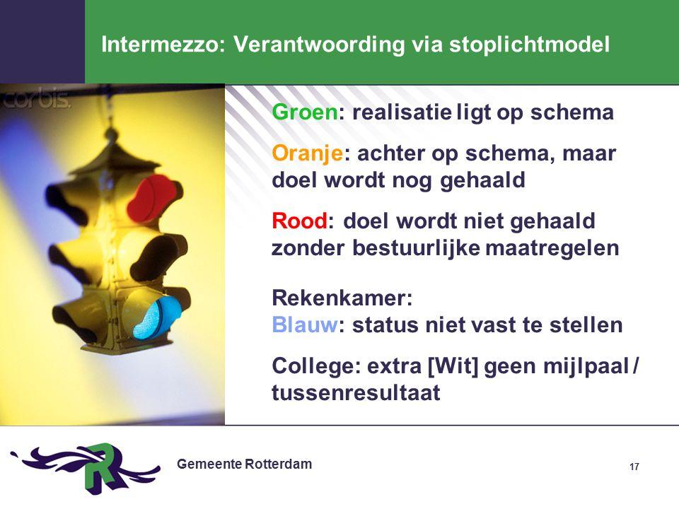 Gemeente Rotterdam 17 Intermezzo: Verantwoording via stoplichtmodel Groen: realisatie ligt op schema Oranje: achter op schema, maar doel wordt nog gehaald Rood: doel wordt niet gehaald zonder bestuurlijke maatregelen Rekenkamer: Blauw: status niet vast te stellen College: extra [Wit] geen mijlpaal / tussenresultaat