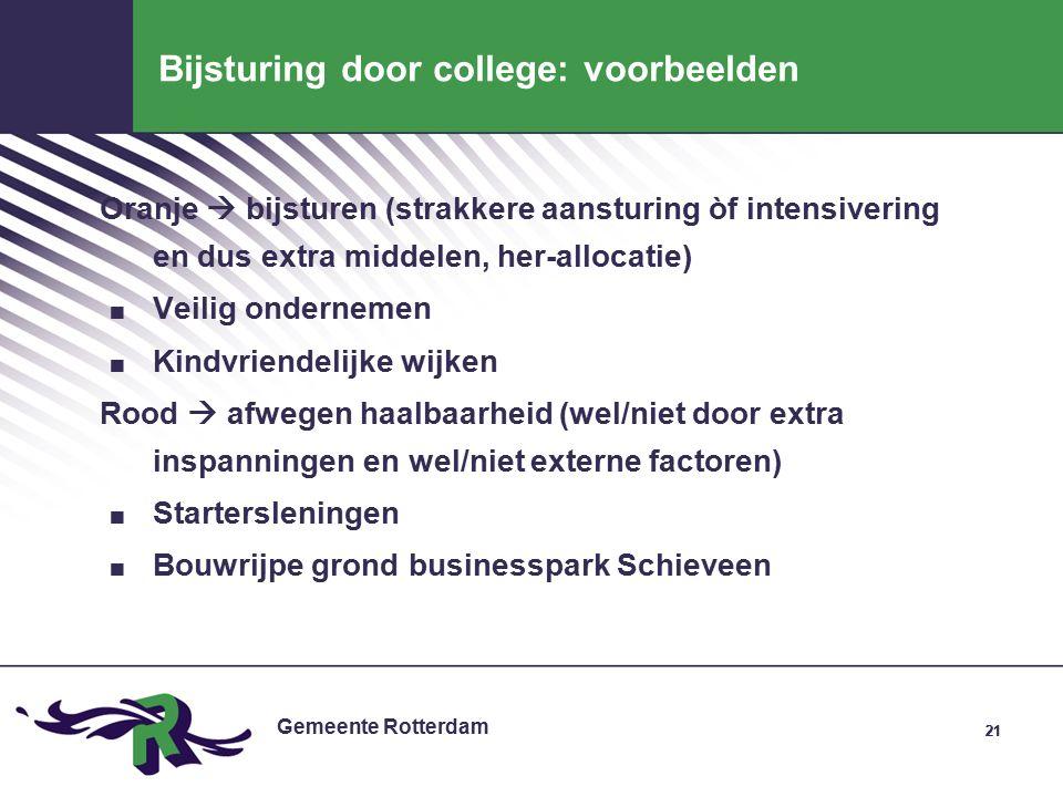 Gemeente Rotterdam 21 Bijsturing door college: voorbeelden Oranje  bijsturen (strakkere aansturing òf intensivering en dus extra middelen, her-allocatie).