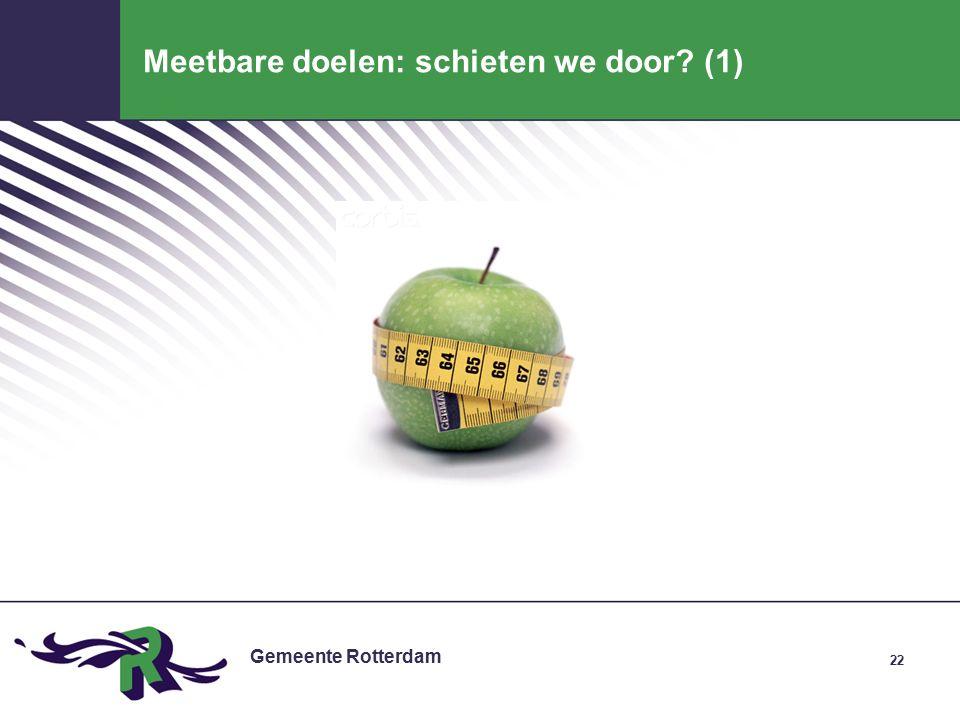 Gemeente Rotterdam 22 Meetbare doelen: schieten we door (1)