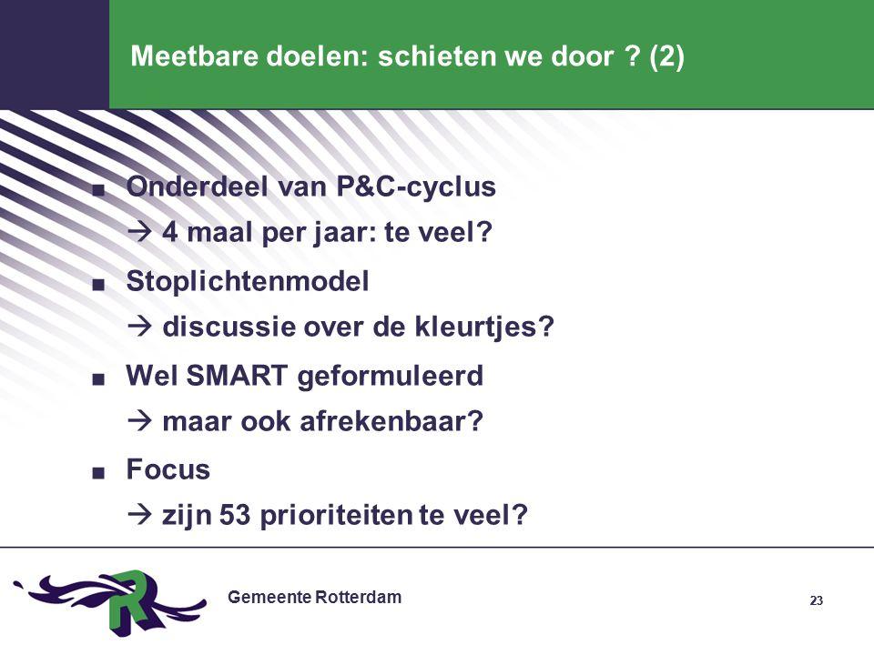 Gemeente Rotterdam 23 Meetbare doelen: schieten we door .