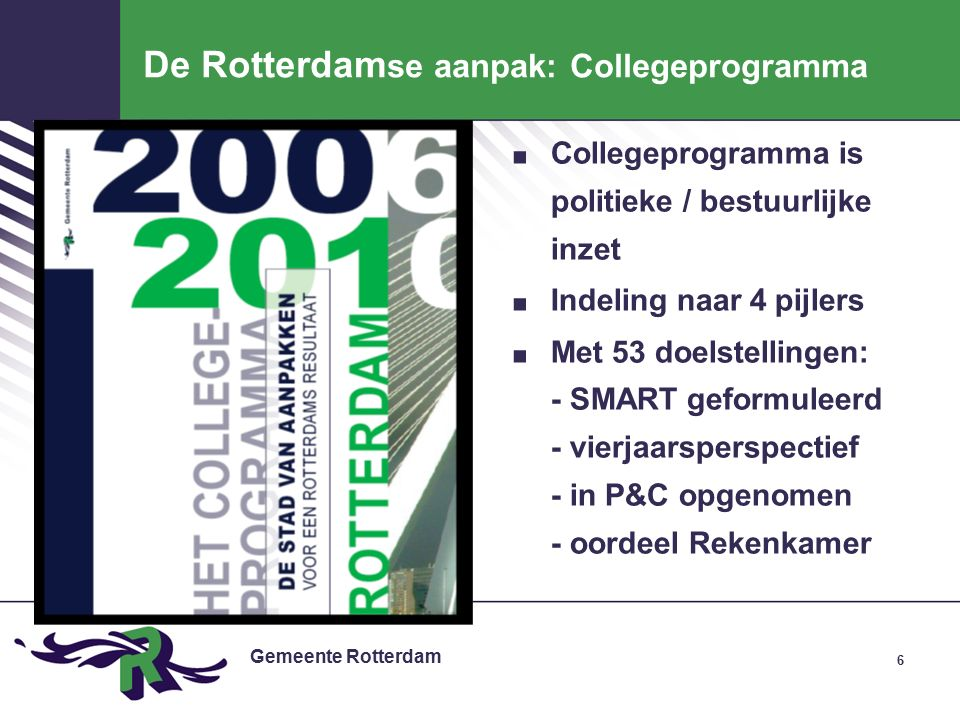 Gemeente Rotterdam De Rotterdam se aanpak: Collegeprogramma.