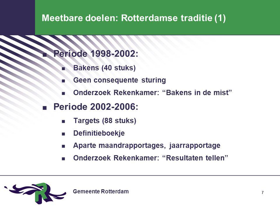 Gemeente Rotterdam 8 Meetbare doelen: Rotterdamse traditie (2) Periode 2006-2010:.