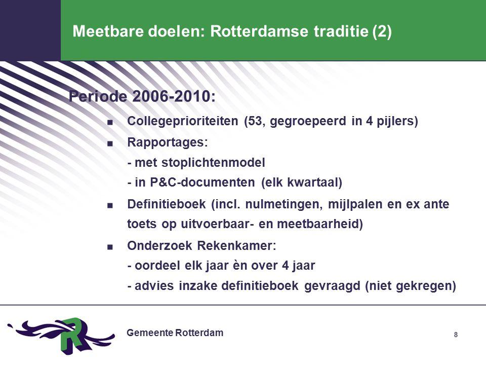 Gemeente Rotterdam 1 e kwartaal- rapportage 9 Diensten, BSD Planning & Control in Rotterdam dec jan feb mrt apr mei jun jul aug sep okt nov dec jan feb Begroting Kader- stellende notitie voorstellen in/ex tensivering - beleidsprioriteiten -doelstellingen - prestaties -financieel kader Management- contract evaluatie vigerend beleid -Collegeprogramma -Jaarverslag(en) -Staat v/d Stad -Pijler-informatie -Omgevingsanalyse Retraite (allocatie ) uitwerking opdrachten - incl financiële consequenties Satellieten Diensten Diensten, BSD BSD 2 e kwartaal- rapportage 3 e kwartaal- rapportage Jaarverslag Kader- brief