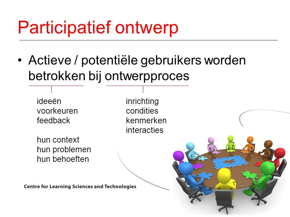 Actieve / potentiële gebruikers worden betrokken bij ontwerpproces inrichting condities kenmerken interacties ideeën voorkeuren feedback hun context hun problemen hun behoeften