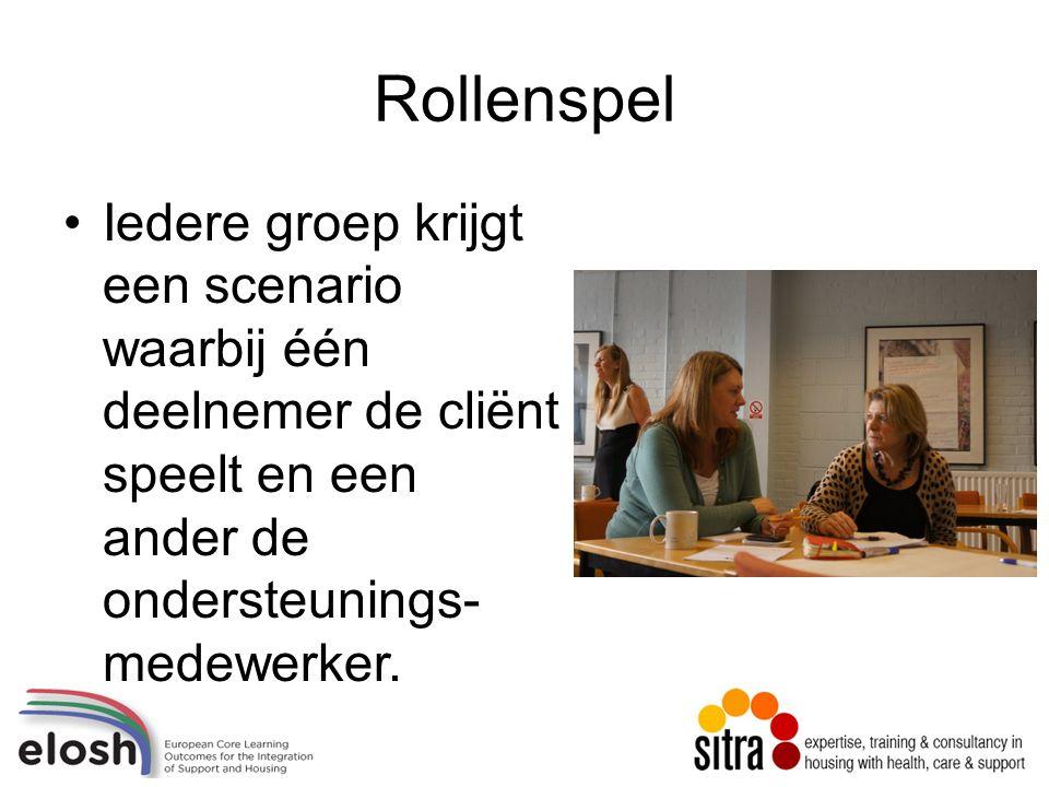 Rollenspel Iedere groep krijgt een scenario waarbij één deelnemer de cliënt speelt en een ander de ondersteunings- medewerker.