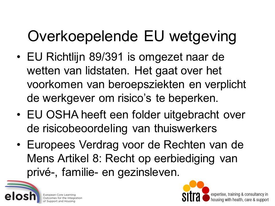 Overkoepelende EU wetgeving EU Richtlijn 89/391 is omgezet naar de wetten van lidstaten.