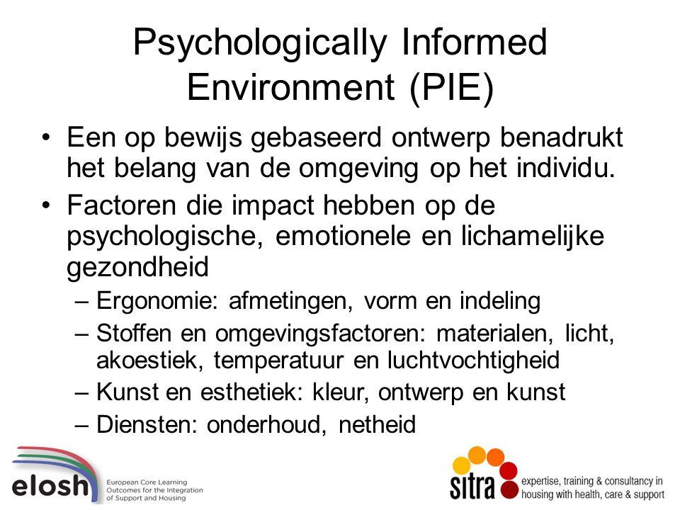 Psychologically Informed Environment (PIE) Een op bewijs gebaseerd ontwerp benadrukt het belang van de omgeving op het individu.