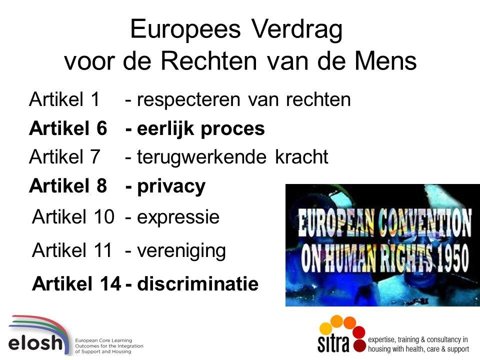 Europees Verdrag voor de Rechten van de Mens Artikel 1- respecteren van rechten Artikel 6- eerlijk proces Artikel 7- terugwerkende kracht Artikel 8- privacy Artikel 10- expressie Artikel 11- vereniging Artikel 14- discriminatie