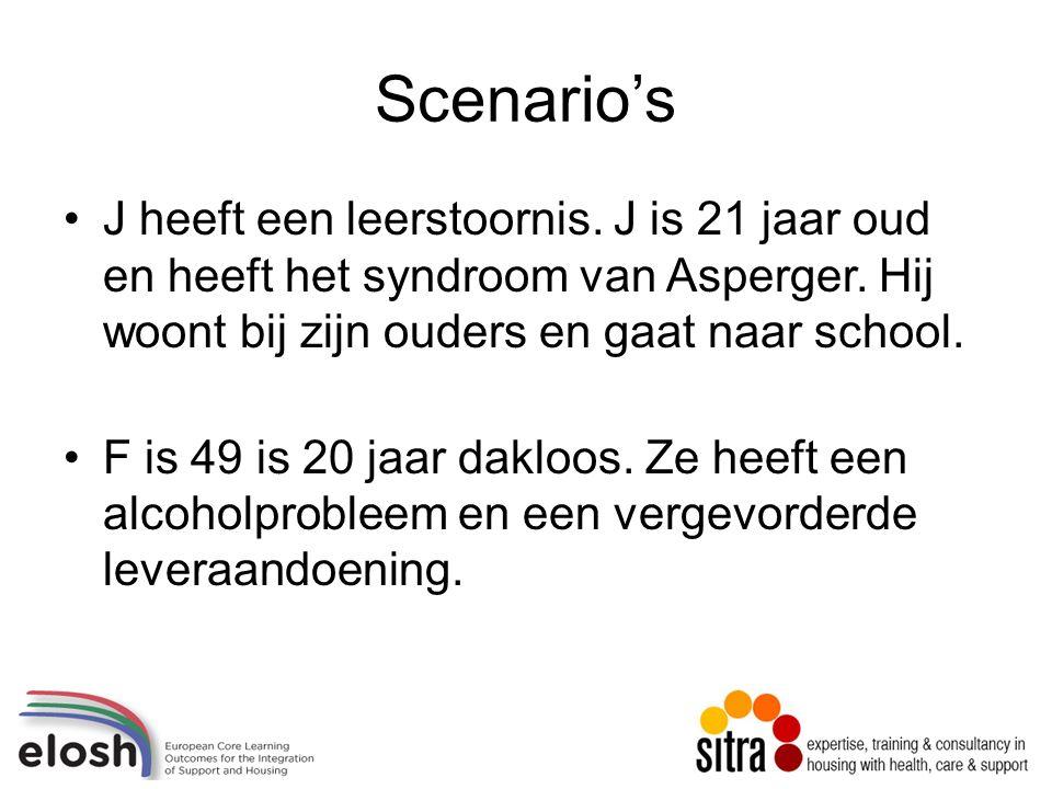 Scenario's J heeft een leerstoornis. J is 21 jaar oud en heeft het syndroom van Asperger.