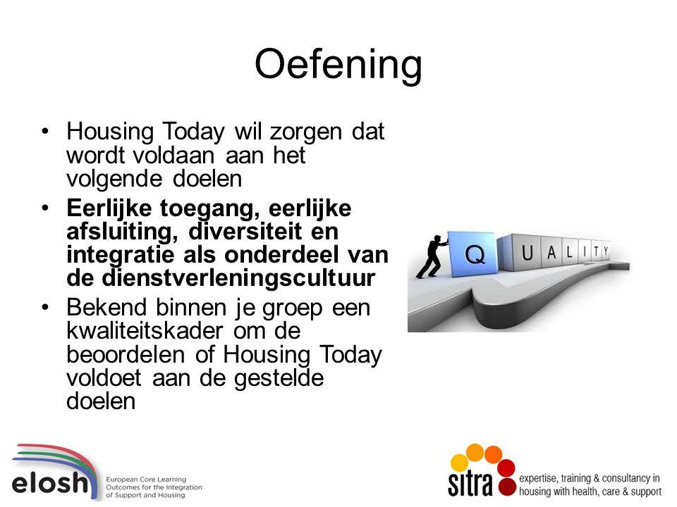 Oefening Housing Today wil zorgen dat wordt voldaan aan het volgende doelen Eerlijke toegang, eerlijke afsluiting, diversiteit en integratie als onderdeel van de dienstverleningscultuur Bekend binnen je groep een kwaliteitskader om de beoordelen of Housing Today voldoet aan de gestelde doelen