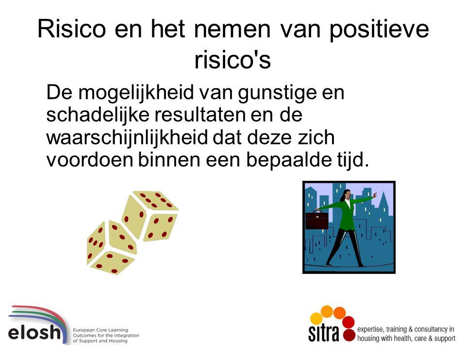 Risico en het nemen van positieve risico s De mogelijkheid van gunstige en schadelijke resultaten en de waarschijnlijkheid dat deze zich voordoen binnen een bepaalde tijd.