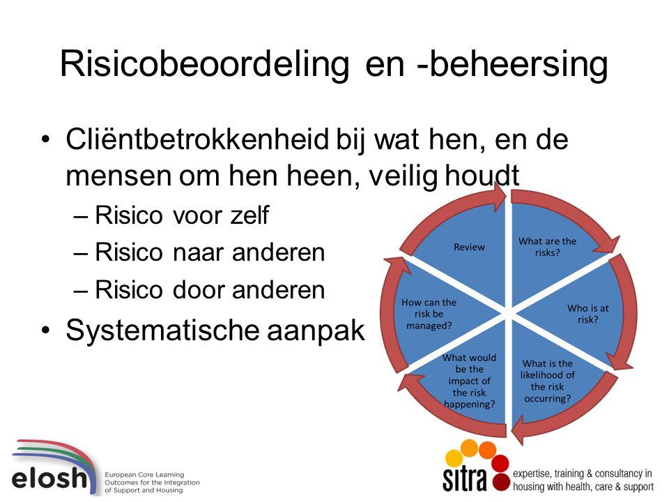 Risicobeoordeling en -beheersing Cliëntbetrokkenheid bij wat hen, en de mensen om hen heen, veilig houdt –Risico voor zelf –Risico naar anderen –Risico door anderen Systematische aanpak