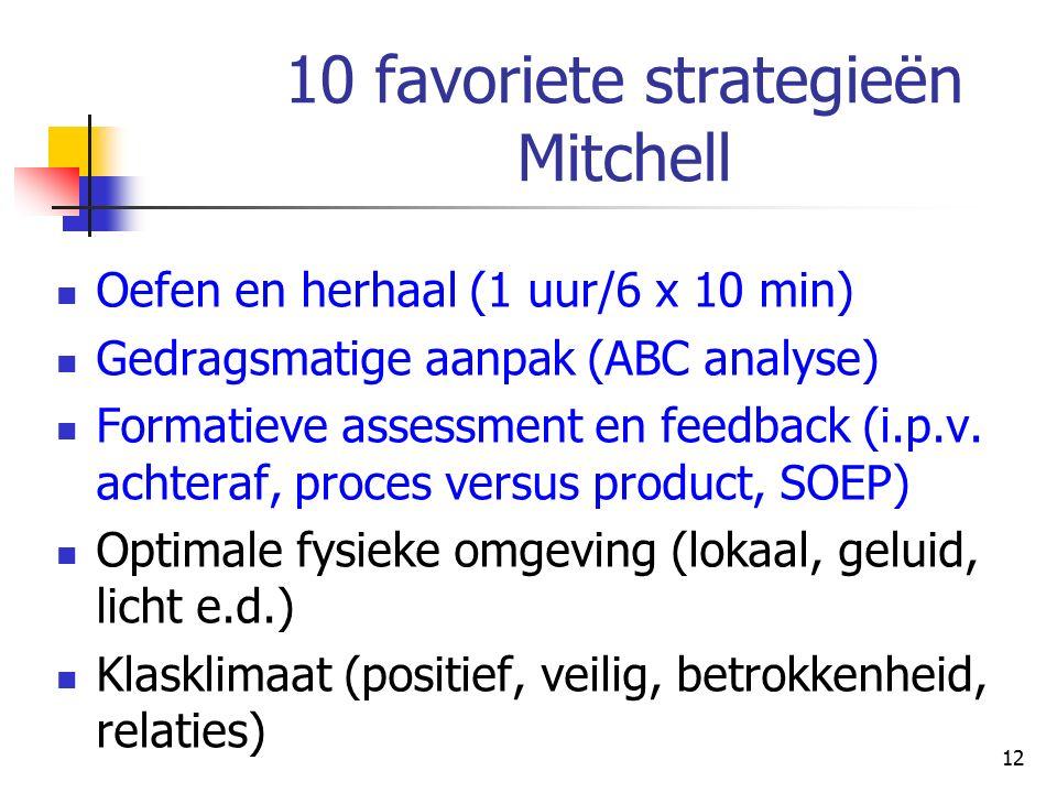 10 favoriete strategieën Mitchell Oefen en herhaal (1 uur/6 x 10 min) Gedragsmatige aanpak (ABC analyse) Formatieve assessment en feedback (i.p.v.