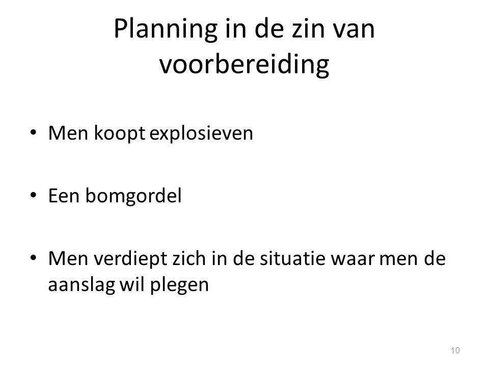 Planning in de zin van voorbereiding Men koopt explosieven Een bomgordel Men verdiept zich in de situatie waar men de aanslag wil plegen 10