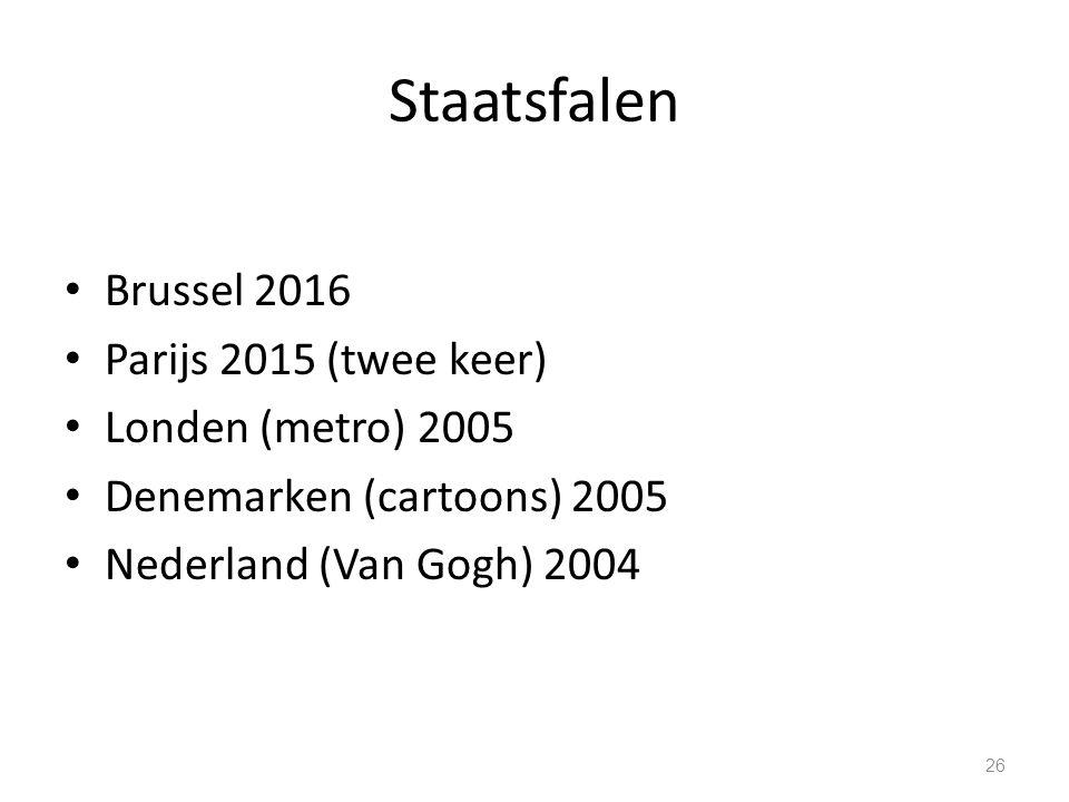 Staatsfalen Brussel 2016 Parijs 2015 (twee keer) Londen (metro) 2005 Denemarken (cartoons) 2005 Nederland (Van Gogh) 2004 26