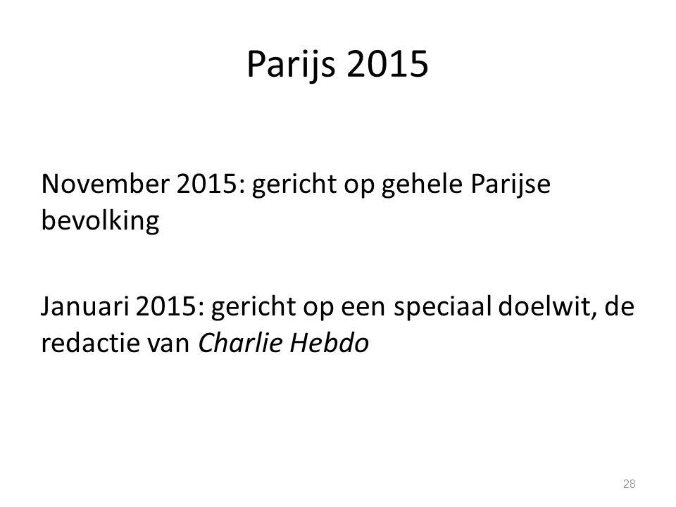 Parijs 2015 November 2015: gericht op gehele Parijse bevolking Januari 2015: gericht op een speciaal doelwit, de redactie van Charlie Hebdo 28