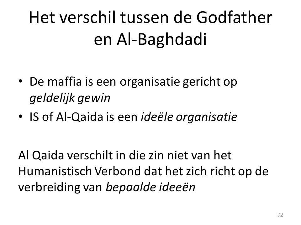 Het verschil tussen de Godfather en Al-Baghdadi De maffia is een organisatie gericht op geldelijk gewin IS of Al-Qaida is een ideële organisatie Al Qaida verschilt in die zin niet van het Humanistisch Verbond dat het zich richt op de verbreiding van bepaalde ideeën 32