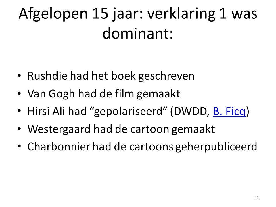 Afgelopen 15 jaar: verklaring 1 was dominant: Rushdie had het boek geschreven Van Gogh had de film gemaakt Hirsi Ali had gepolariseerd (DWDD, B.