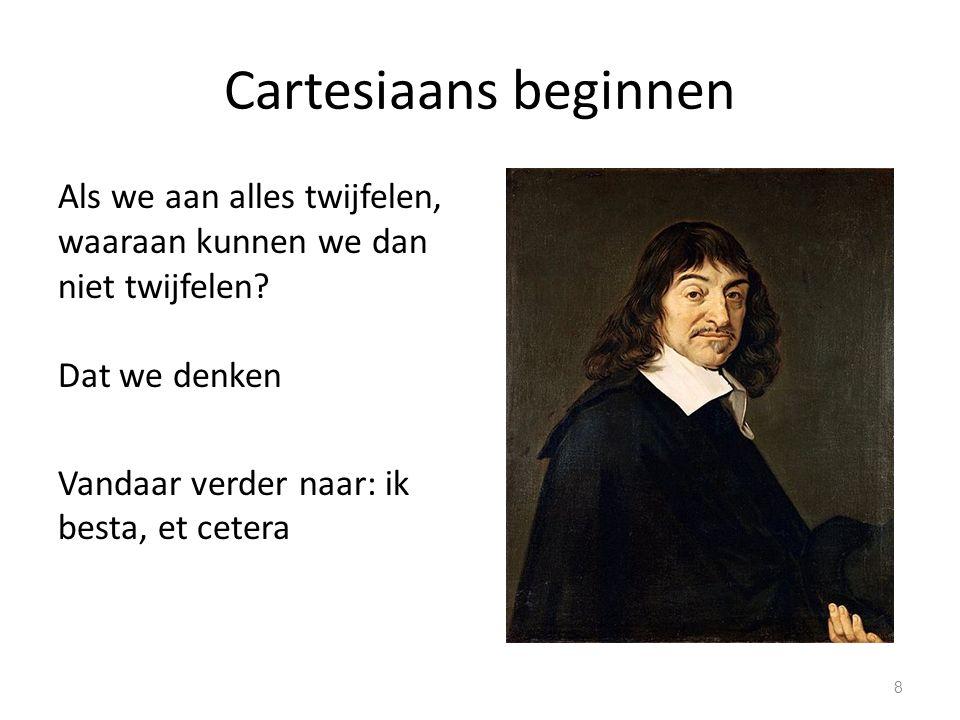 Cartesiaans beginnen Als we aan alles twijfelen, waaraan kunnen we dan niet twijfelen.