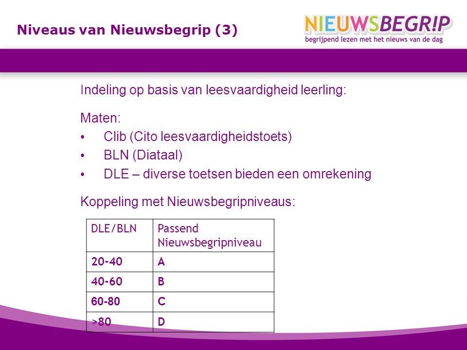Niveaus van Nieuwsbegrip (3) Indeling op basis van leesvaardigheid leerling: Maten: Clib (Cito leesvaardigheidstoets) BLN (Diataal) DLE – diverse toet