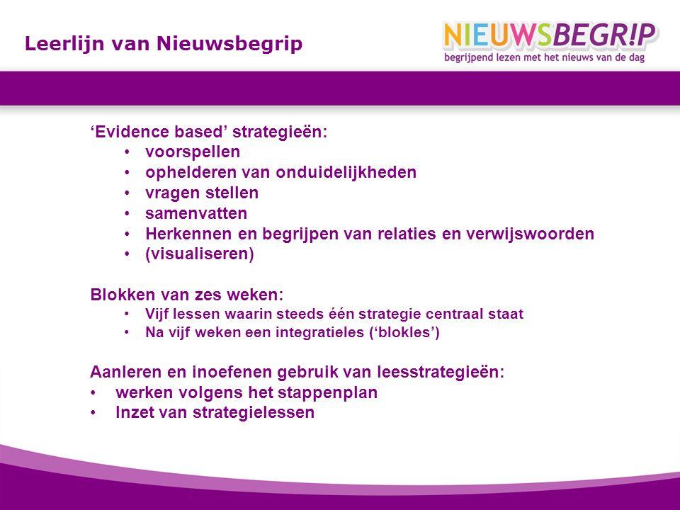 Leerlijn van Nieuwsbegrip 'Evidence based' strategieën: voorspellen ophelderen van onduidelijkheden vragen stellen samenvatten Herkennen en begrijpen