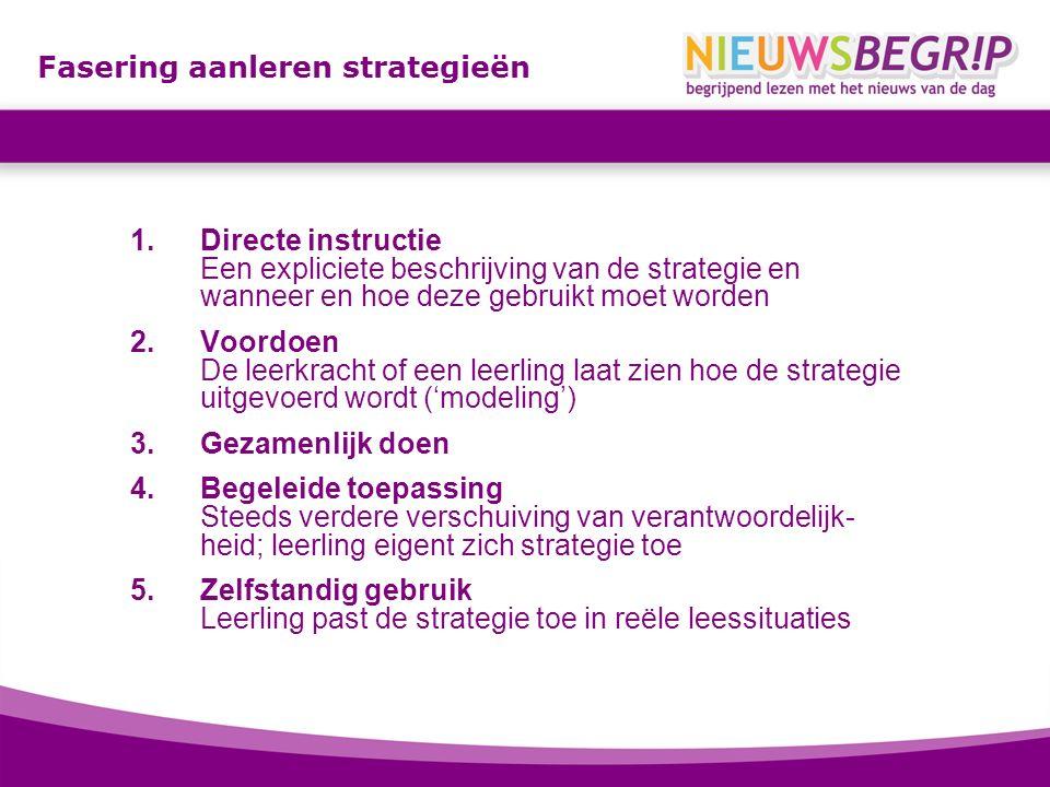 Fasering aanleren strategieën 1.Directe instructie Een expliciete beschrijving van de strategie en wanneer en hoe deze gebruikt moet worden 2.Voordoen De leerkracht of een leerling laat zien hoe de strategie uitgevoerd wordt ('modeling') 3.Gezamenlijk doen 4.Begeleide toepassing Steeds verdere verschuiving van verantwoordelijk- heid; leerling eigent zich strategie toe 5.Zelfstandig gebruik Leerling past de strategie toe in reële leessituaties