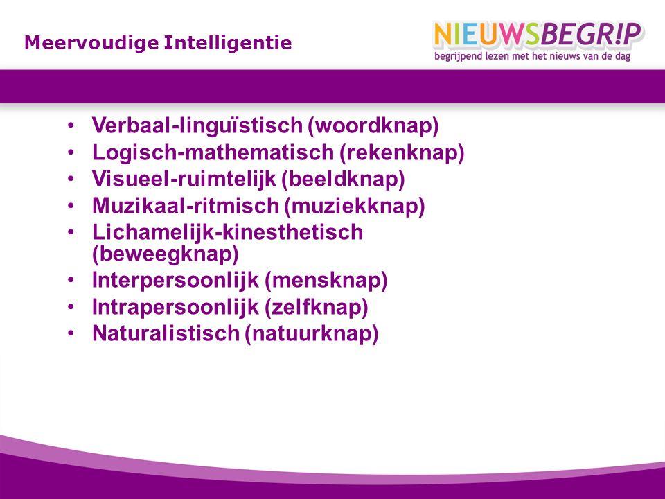 Meervoudige Intelligentie Verbaal-linguïstisch (woordknap) Logisch-mathematisch (rekenknap) Visueel-ruimtelijk (beeldknap) Muzikaal-ritmisch (muziekkn
