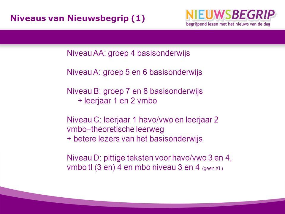 Niveaus van Nieuwsbegrip (1) Niveau AA: groep 4 basisonderwijs Niveau A: groep 5 en 6 basisonderwijs Niveau B: groep 7 en 8 basisonderwijs + leerjaar 1 en 2 vmbo Niveau C: leerjaar 1 havo/vwo en leerjaar 2 vmbo–theoretische leerweg + betere lezers van het basisonderwijs Niveau D: pittige teksten voor havo/vwo 3 en 4, vmbo tl (3 en) 4 en mbo niveau 3 en 4 (geen XL)